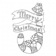 黑色矢量单色插图圣诞快乐