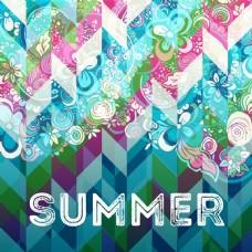 夏季海报涂鸦手绘元素与几何抽象背景