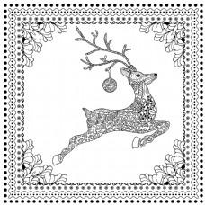 装饰性跳鹿剪影手绘矢量图