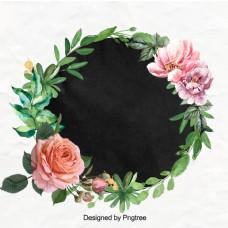 美丽的手画水彩花环