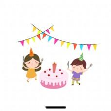 生日派对上可爱的卡通儿童