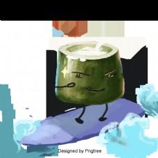 美丽的卡通可爱的手绘水彩夏季椰子