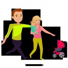 美丽的卡通可爱的手绘爱幸福的家庭妈妈和爸爸