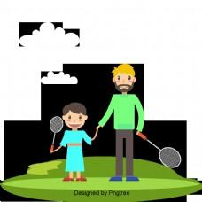 美丽的卡通可爱的手绘爱幸福的家庭爸爸