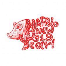 可爱的红色猪嘴年新年快乐