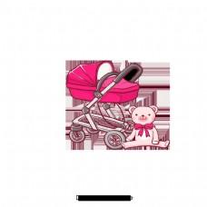 红色可爱婴儿车创意材料设计