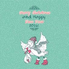 经典圣诞快乐涂鸦卡与鹳鸟带来的宝宝