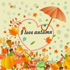 美丽多彩的卡通可爱的手绘浮动我爱秋天的背景