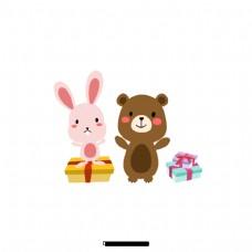 卡通可爱的兔子和带礼物的熊