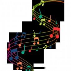 美丽多彩浪漫的员工音乐符号浮动元素音乐