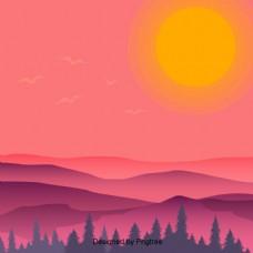 美丽凉爽的卡通平日日出背景