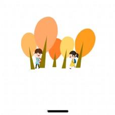 卡通小男孩女孩
