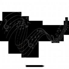 美丽浪漫的员工音乐符号浮动元素音乐