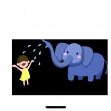 卡通大象和小女孩