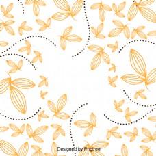 美丽卡通可爱平展手绘秋叶壁纸