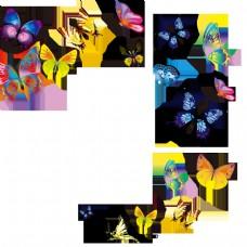 卡通手绘抽象蝴蝶图案
