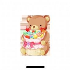 卡通可爱熊背花束设计图