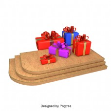 美丽多彩卡通可爱红色节日礼品盒