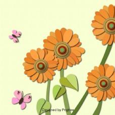 美丽的卡通可爱的手绘剪纸花朵秋天向日葵背景