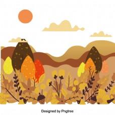 手绘秋大山风景的材料设计
