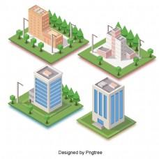美丽卡通可爱城市建筑环保高层