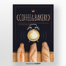蓝色褐色小麦王冠面包钟表咖啡窗冬季甜味食品海报