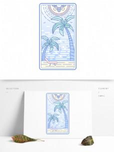 线性卡牌椰子沙滩蓝色可商用