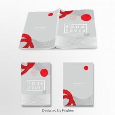 抽象和简单的红灰白对比色艺术设计文化创意设计年鉴封面模板