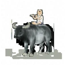 卡通水牛清明牧童