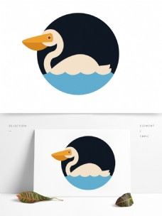 创意手绘风个性鹈鹕鸟动物矢量元素图案