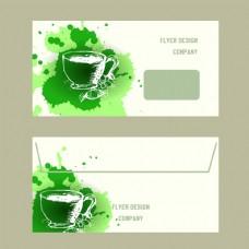 与绿茶概念设计的名片收藏健康