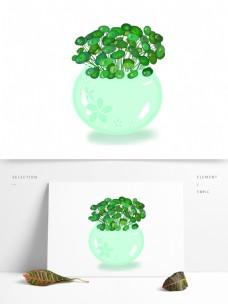 青瓷缸花朵玉缸鱼缸铜钱草小清新绿色素材