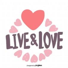 情人节爱心桃心型元素live&love字样手绘字体贴纸