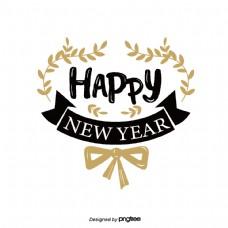 新年快乐黑金艺术字花环丝带