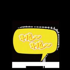荧光黄色日本卡通频道卡通风格的气泡使现场。