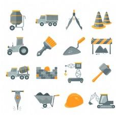施工工地建筑矢量图标素材一套