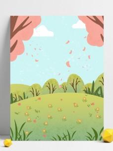 清新唯美三月树下花瓣插画