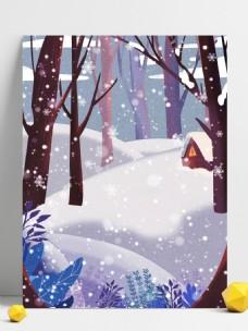 彩绘大雪节气雪景背景素材