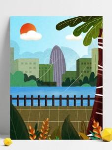 卡通手绘绿色城市风景插画背景