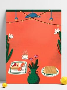 大气红色新年美食插画背景