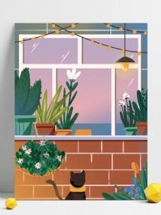 大气简约窗台上的盆栽插画背景