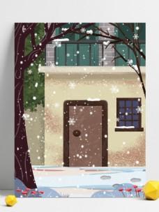 唯美浪漫房屋雪景背景