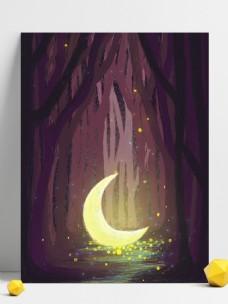 梦幻意境夜晚月亮插画背景