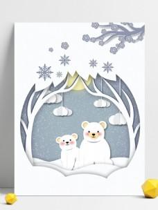 唯美冬天雪地小熊背景图