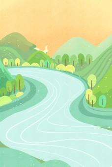 卡通绿色森林和河流免抠图