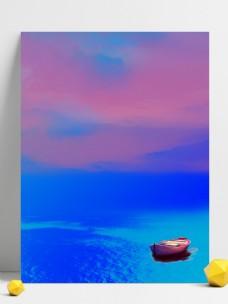 唯美海面小船背景