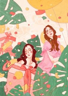 妇女节女性购物插画