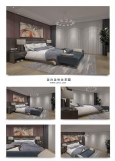 现代温馨浪漫粉色卧室空间模型效果图