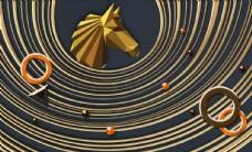 现代简约个性立体几何线条马头背