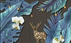 简约时尚热带雨林麋鹿鎏金铁艺背